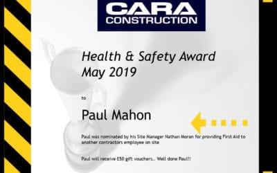 Cara Constructions Health & Safety Award Winner for May