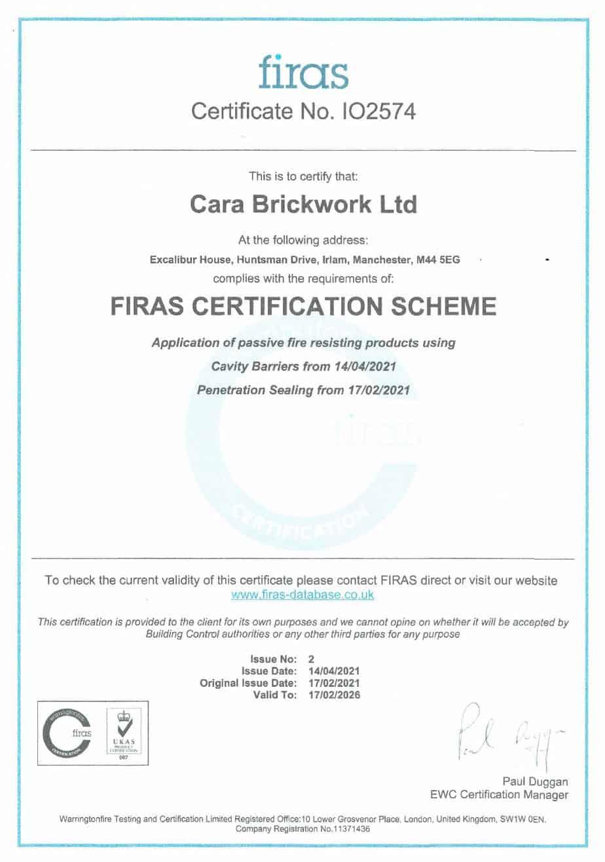 Cara Brickwork awarded FIRAS